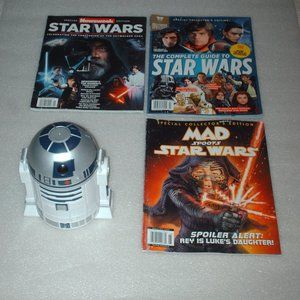 Collection of Star Wars items  R2D2 & magazines
